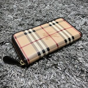Burberry Haymarket Large Ziggy Zip Around Wallet
